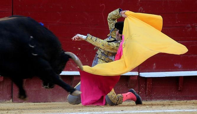 El torero Juan José Padilla realiza una larga cambiada